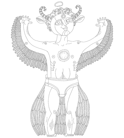 nude man: Vector hand drawn graphic monochrome illustration of bizarre creature, cartoon nude man with wings, animal side of human being. Idol concept, spirit allegory drawing.