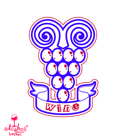 tendrils: Stylized grape vine vector illustration. Winery symbol best for use in advertising and graphic design. Creative Grape with vine tendrils isolated on white. Illustration