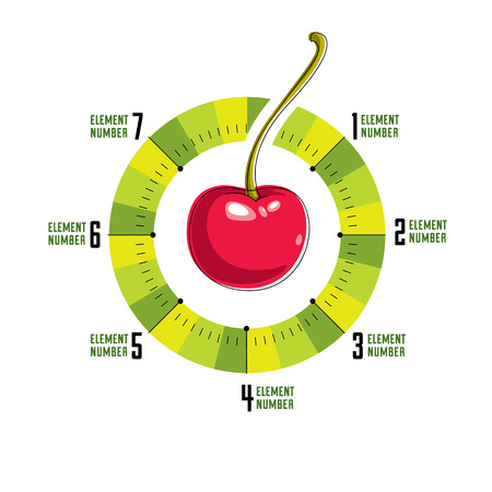 centered: Creative infographics concept, centered round composition with cherry and segments,vector illustration. Illustration