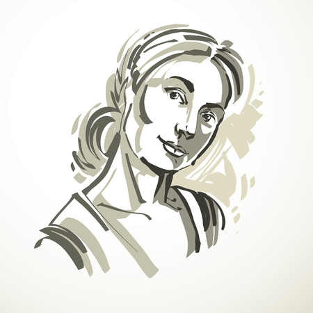 minimal style: Vector drawing of beautiful tender woman, portrait in minimal style. Grayscale illustration, emotional expressions of nice lady.