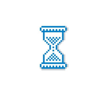 8bit: Vector pixel icon isolated, 8bit graphic element. Simplistic hourglass sign, endless time idea.