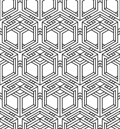 intertwine: Graphic seamless abstract pattern, regular geometric black and white 3d background. Contrast ornament.