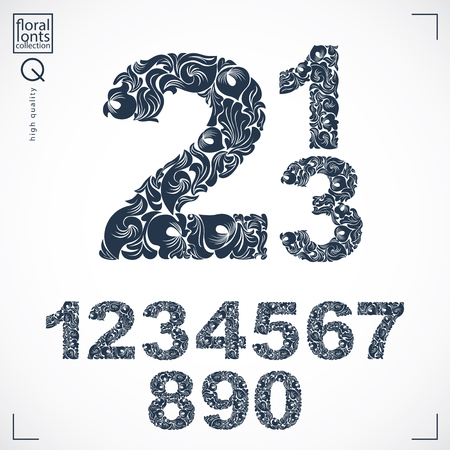 Floral numerals, hand-drawn vector numbers decorated with botanical pattern. Monochrome ornamental numeration, digits made in vintage design.