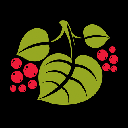 a sprig: Three simple green vector tree leaves with red seeds, stylized nature element. Ecology symbol, can be used in graphic design. Summer or spring season illustration