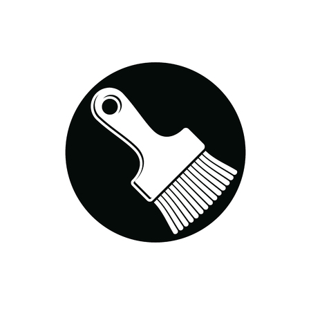whitewash: Renovation instrument used in whitewash, paint brush. Classic reparation tool. Building theme graphic vector design element. Illustration