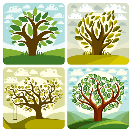 Vector art trees with swing on beautiful cloudy spring landscape.  Setting sun with sunbeams view, season theme illustrations collection.