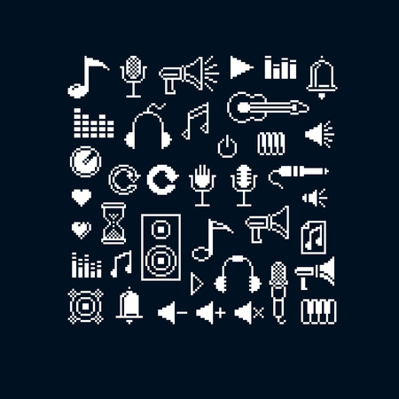 8bit: Vector pixel icons isolated, collection of 8bit music graphic elements. Simplistic digital signs created in music and media theme.