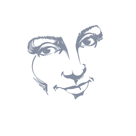 features: Facial expression, hand-drawn illustration of face of delicate good-looking girl with positive emotional expressions. Beautiful features of lady visage.