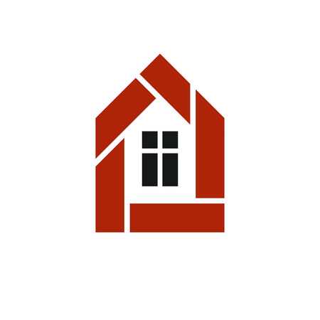 designing: Property developer stylish icon, estate agency corporate symbol. Creative construction icon, vector house. Commercial building and designing theme.