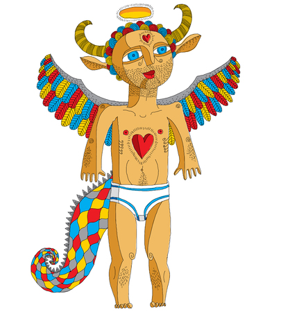 Vector hand drawn graphic illustration of weird creature, cartoon nude man with wings, animal side of human being. Idol concept, artistic allegory drawing.