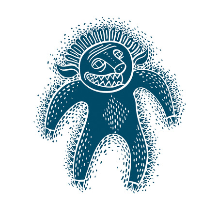 snoot: Character monster vector flat illustration, blue mutant, devil. Drawing of weird beast, emotional expression. Illustration