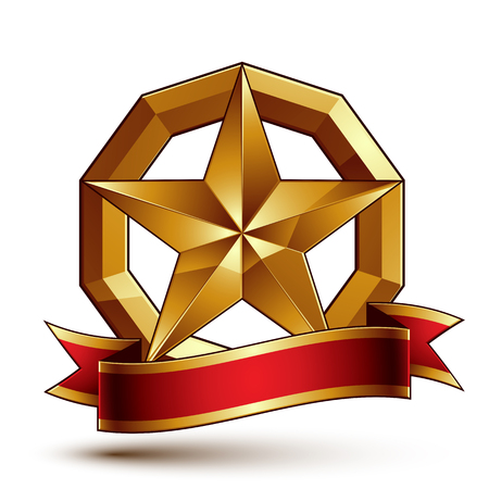 Branded golden symbol with stylized pentagonal glossy star and red decorative curvy ribbon, best for use in web and graphic design. Refined vector icon placed in a circle. Sophisticated gold ring isolated on white background.