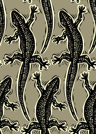 reptilian: Vector reptilian seamless pattern, lizards top view continuous background. Rain forest fauna wallpaper for use in graphic design. Illustration