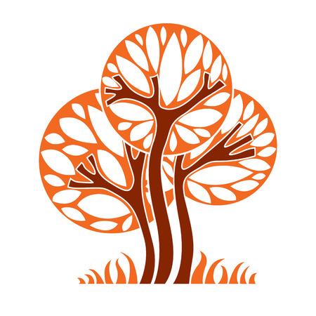Art graphique illustration vectorielle d'arbre, concept de saison, peut être utilisé comme symbole de conception sur le thème de l'écologie et de la nature. Vecteurs