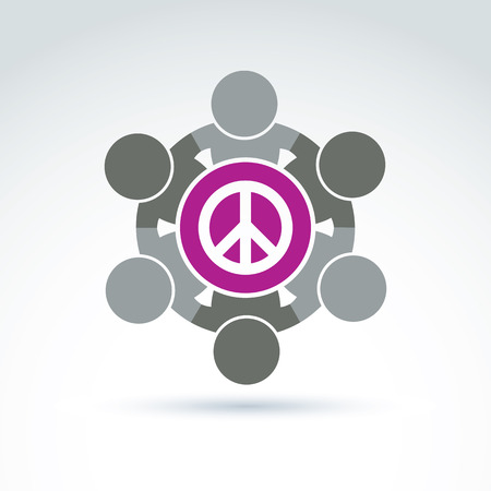no integrity: Illustration of a group of people standing around a peace sign, hippy community. Harmony and freedom conceptual icon.