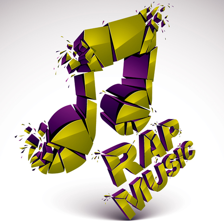 rap music: Green 3d vector musical note created from refractions isolated on white. Three-dimensional transform music theme design element. Rap music theme.