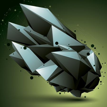 3D mesh modern stylish abstract construction, origami facet object constructed from different geometric parts.