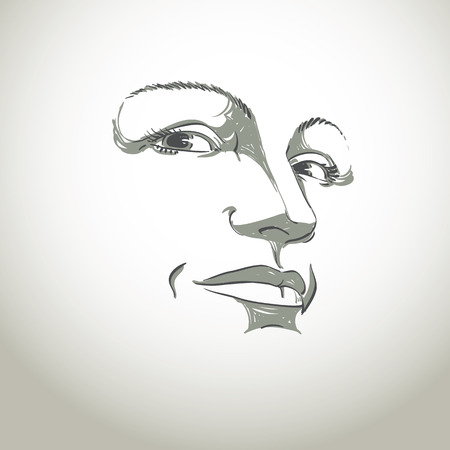 Facial expression, hand-drawn illustration of face of girl with emotional expressions. Beautiful features of lady visage. Sorrowful woman, sad mask. Illustration