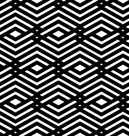 Black and white geometric art seamless pattern, vector mosaic monochrome interweave background. Symmetric illusive artificial backdrop with rhombs.