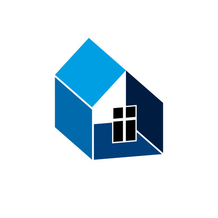 corporation: Construction company abstract symbol, building corporation. House vector design element, simple property developer or estate agency icon. Illustration