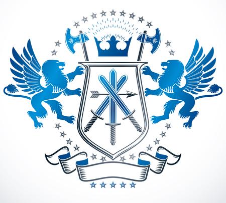 Vintage award design, vintage heraldic Coat of Arms. Vector emblem. Ilustrace