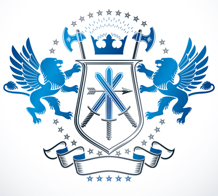 armory: Vintage award design, vintage heraldic Coat of Arms. Vector emblem. Illustration