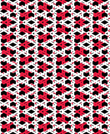 visual effect: Red messy abstract seamless pattern with interweave lines. Vector ornament wallpaper. Endless decorative background, visual effect geometric tracery with rhombs.