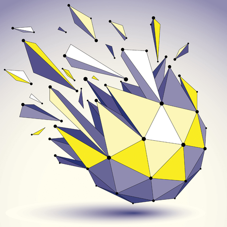 smashed: Perspective technology demolished shape with black lines and dots connected, polygonal wireframe object. Explosion effect, colorful abstract faceted element cracked into multiple fragments.
