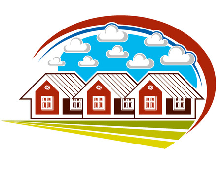Colorful vector illustration of country houses on nature background with white clouds. Village theme bright picture, construction and real estate idea.