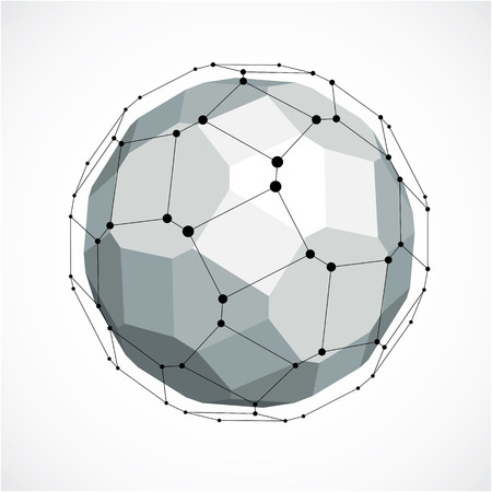 Abstract 3d faceted figure with connected black lines and dots. Vector low poly grayscale design element created with squares and pentagons. Cybernetic orb shape with grid and lines mesh.