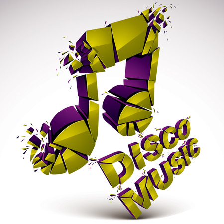 smashed: Green 3d vector shattered musical note with specks and refractions. Dimensional facet design music demolished symbol. Disco music theme.