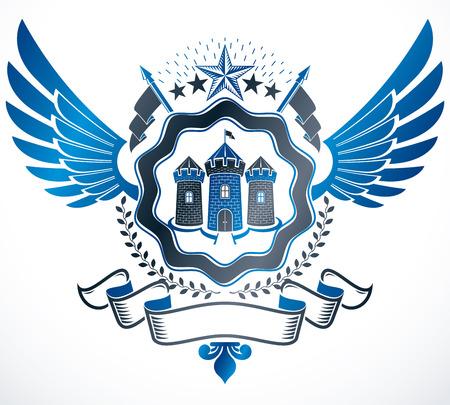 blazon: Luxury heraldic vector emblem template. Vector blazon.