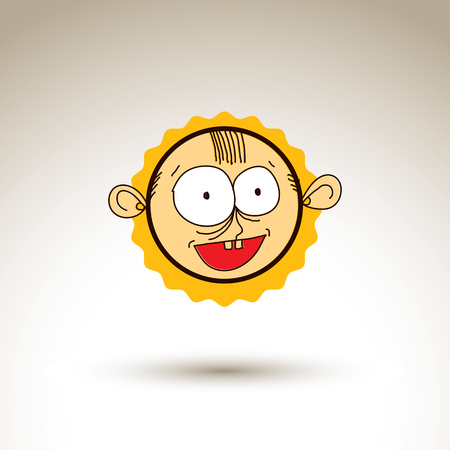 Vector hand drawn cartoon happy smiling boy. Web avatar theme graphic design element isolated on white. Social conversation idea artistic drawing.