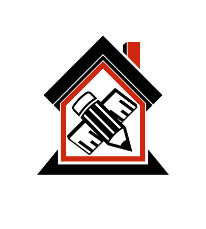 Architectural design conceptual symbol, simple vector house icon with edit pencil and measuring line. Design construction and engineer graphic element.