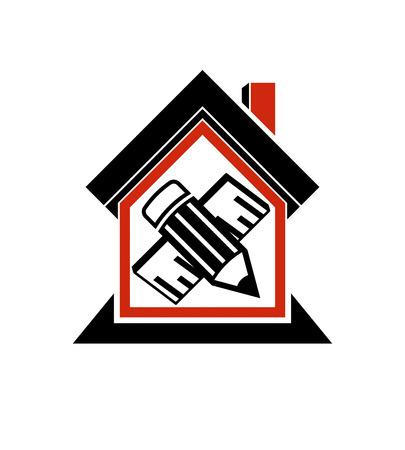 Het architecturale ontwerp conceptuele symbool, eenvoudig vectorhuispictogram met geeft potlood en meetlijn uit. Ontwerp constructie en ingenieur grafisch element.