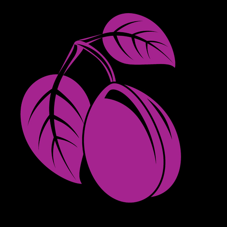 Single purple simple vector plum with leaves, ripe sweet fruit illustration. Healthy and organic food, harvest season symbol.