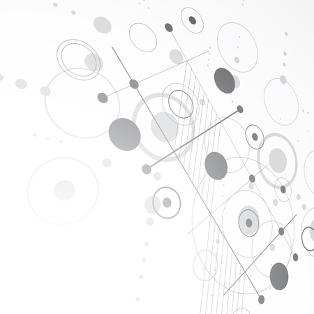 perspectiva lineal: Bauhaus art dimensional composition, perspective grayscale modular vector wallpaper with circles and grid. Retro style pattern, graphic backdrop for use as booklet cover template. Vectores