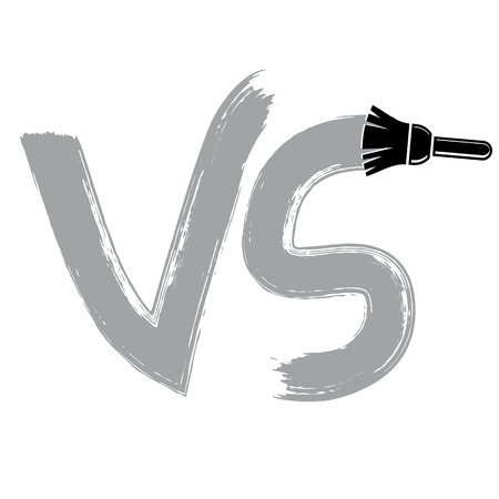 confrontation: Vector competition symbol drawn with paintbrush, versus sign. VS writing, confrontation conceptual icon isolated. Illustration