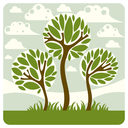 paisaje de fantasía con el árbol estilizado, pacífica escena. ilustración vectorial tema de la temporada, la ecología idea imagen.