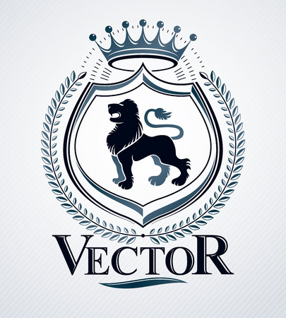 Vector emblem, vintage heraldic design. Illustration
