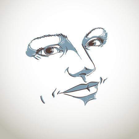 Zwart-wit silhouet van vreedzame aantrekkelijke dame, gezicht functies. Met de hand getekende vector illustratie van de vrouw gezicht, schets.