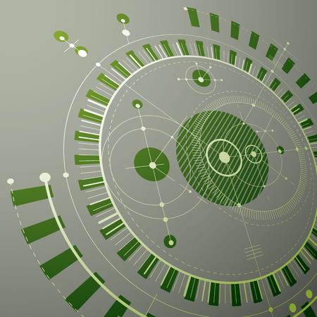 Technical blueprint, green vector digital background with geometric design elements, circles. 3d illustration of engineering system, perspective abstract technological backdrop.