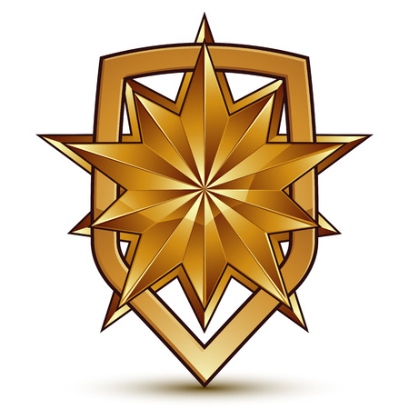 Sophisticated vector blazon with a golden star emblem, 3d polygonal glamorous design element, clear EPS 8.