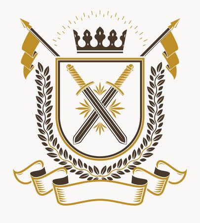 Vintage emblem, vector heraldic design.