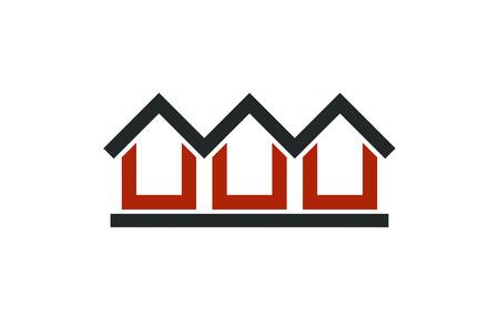 touristic: Colorful holiday houses vector illustration, home image. Touristic and real estate creative emblem, cottages front view. Countryside theme.