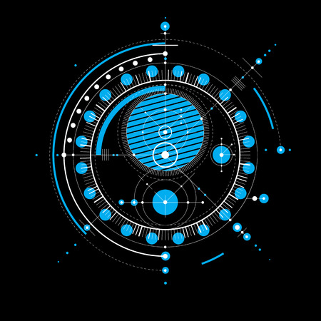 Technical drawing made using dashed lines and geometric circles. Blue vector wallpaper created in communications technology style, engine design