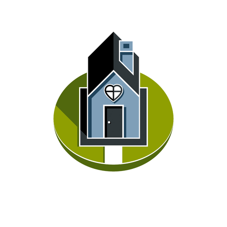 Country house front view with heart symbol. Conceptual family theme vector illustration, harmony at home.