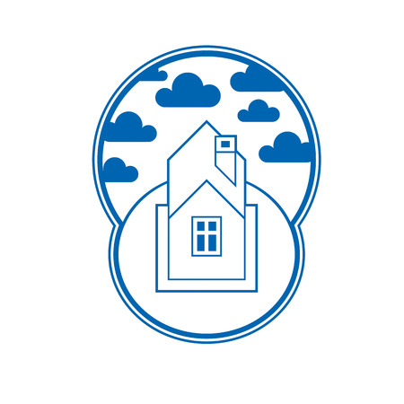 House detailed vector illustration, village idea. Graphic country house image, simple countryside building. Illustration