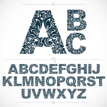 typescript: Set of beautiful capital letters decorated with herbal ornament. Black and white vector typescript made in floral style.