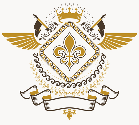 armory: Heraldic sign, element, heraldry emblem, insignia, sign, vector. Illustration